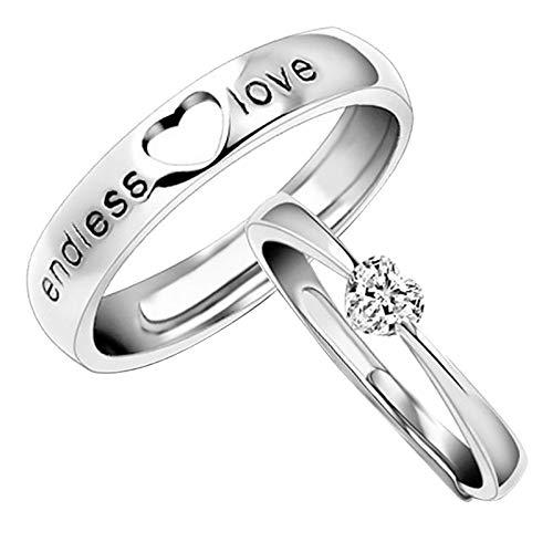 Janly Clearance Sale Anillos para mujer, 2 anillos para parejas, anillo de cobre fresco con apertura de nudo ajustable, anillo de cobre, conjuntos de joyas, día de San Valentín (G)