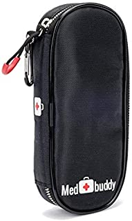 MedBuddy Medicine Case - Fits 2 EPIPEN, Allergy & Asthma meds, Auvi-Q, Inhalers, Peak Flow, Generic Benadryl, Nasal Spray, Eye Drops, Insulin, Vials & Syringes: (Black)
