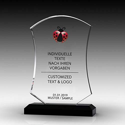 Nurdanil Trofeo de Vidrio con su Texto Personal Grabado Individualmente, Logotipo o Imagen, Copa de Regalo, Regalo a Juego, NUR-4561