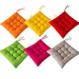 AIITLLYNA Cuscini per Sedie Set da 6,Cuscino per Sedia da Giardino 40x40 per Interni ed Esterni - Decorazione di mobili da Giardino di Diversi Colori Cuscini per sedie (Combinazione di Colori A)