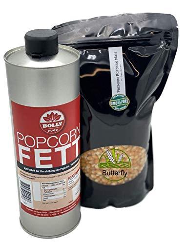 Popcornset Butterfly Popcorn Fett Popcorn Öl 1 Liter Halbflüssig mit Beta Carotin Plus 1 Kg Premium Kinopopcorn