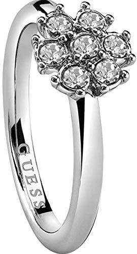 Guess CALIFORNIA SUNLIGHT - Anello da donna in acciaio INOX con cristalli bianchi, misura 56 (17,8) -UBR28517-56