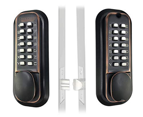 Mechanical Keyless Combination Latch Door Lock with Double Keypads for Gates, Fences, Windows - No Battery No Power Needed (Oil Rubbed Bronze) - Not a Deadbolt