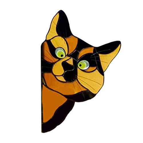 iBaste Adhesivo de gato con dibujos animados para puertas y ventanas de puertas, 3D, adhesivo para gatos DIY para ventanas de coche, puertas, cocina, decoración de pared