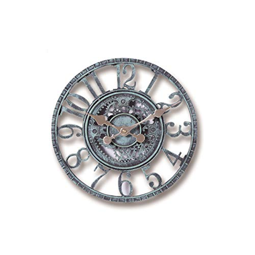 REUJKK Outdoor Garden Wanduhr wetterfest, Vintage Garten Ornament, Open Face 30cm Uhr Hohlzahnrad Römische Ziffer Hängende Uhr