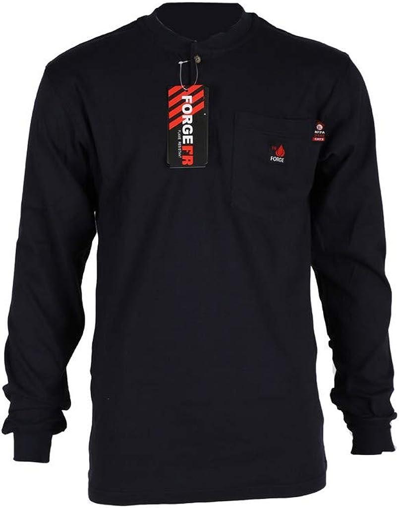 Forge FR Work Shirt Mens Long Sleeve Henley FR XLT Black MFRHNLY-004