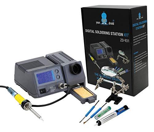 your droid Lötset Digitale Lötstation 48W 150-450°C ZD-931 mit Zubehör