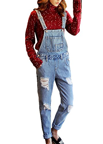 Runyue Damen Lässig Jeans-Latzhose Denim Ärmellose Overall Jeans Gerades Bein Latzhose Lose Playsuit Hose Hellblau XL