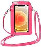ZLYY Bolso bandolera para mujer, de piel sintética, protección RFID, cartera para mujer, para pantalla táctil, con ventana para pantalla táctil, color rosa