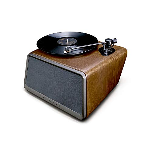 HYM Officials Seed 80W Hi-Fi Speaker with All-in-One: Vinyl Turntable Record Player/ Bluetooth/ WiFi/ AUX-in/ USB/ RCA- Walnut Wood