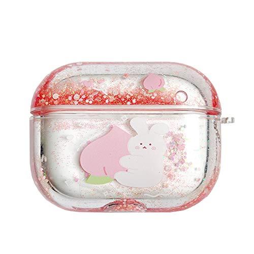 SGVAHY Bling Quicksand Hülle für AirPods Pro, Luxus Glitzer Flüssigkeit Pailletten mit niedlichem Tiermuster Klar Harte Schutzhülle mit Schlüsselanhänger Kabellose Ladebox (Peach Bunny AirPods Pro)