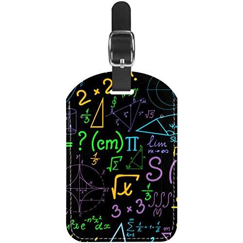 Etiquetas de Equipaje Patrón matemático de Color y Etiquetas de Maleta de Viaje de Cuero de fórmula 1 Paquetes
