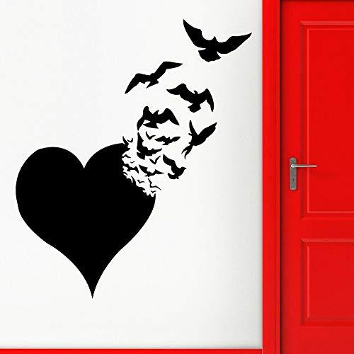 Amor corazón pegatinas de pared pájaros voladores abstracto pareja romántica dormitorio sala de estar decoración del hogar vinilo ventana calcomanías arte creativo