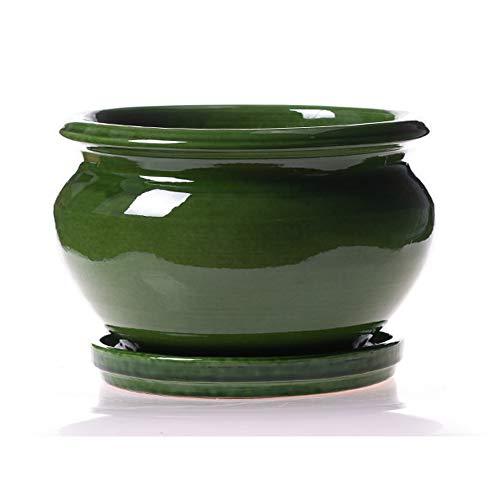 Maceta DE Barro ESMALTADA EN Color Verde + Plato.Modelo CARPIN. Medidas 22X 16CM.
