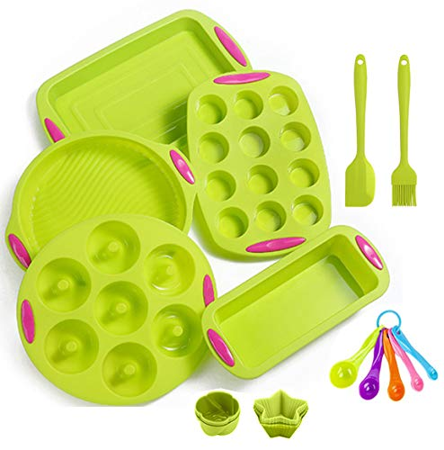 readleaf 18 Stück Silikon-Antihaft-Backform Silikon-Backgeschirr-Backset Antihaft-Backform, BPA-frei, Backformen und Tablettsets in Lebensmittelqualität Pizza Cupcake-Backblech-Set (Gruppe A)