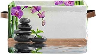 Doshine Panier de rangement pliable en bambou avec poignées Motif fleur zen japonais