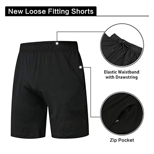 Niksa 3 Pack Gym Clothes for Men,Running Clothes Sports Wear Set,Base Layers Tops+Zip Pocket Draw String Loose Fitting Shorts+Compression Leggings for Workout (S)