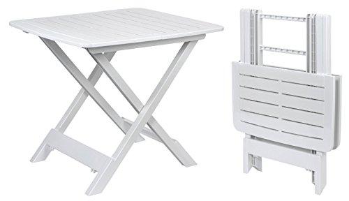 Spetebo Klapptisch TEVERE in weiß - 80x72x70 cm - Garten- oder Campingtisch - ideal als Beistelltisch