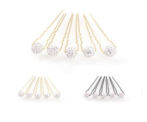 5 Epingle à cheveux avec boule de strass - Accessoires cheveux mariage - d'or - Clair