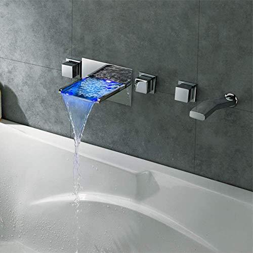Fácil de Instalar Grifo de baño Cobre Led Agua Generación de energía Lavabo Luminoso Grifo de Cascada Sistema de Ducha de Mano con tracción de 2 Funciones Oscuro en la Pared Grifo de bañera