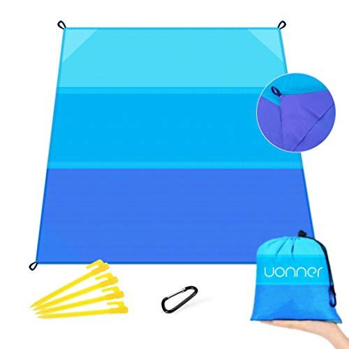 UONNER Picknickdecke wasserdichte Stranddecke Sandfrei Outdoor Tragbare Ultraleicht Strandmatte Campingdecke Picnic Pocket Blanket mit 4 Befestigung Ecken