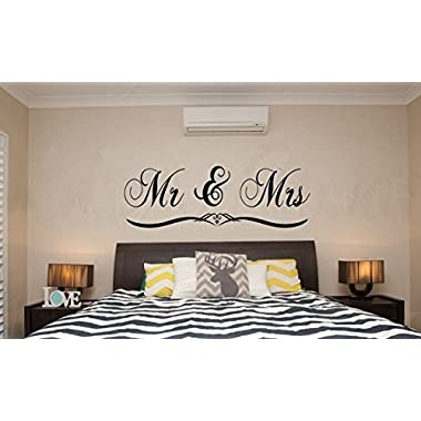 DNVEN (Black Large 59 x 20  Mr and Mrs Husband and Wife Couples Headboard Bedroom Handmade Wall Decals Stickers Home Lettering Sayings Quotes Romantic Wedding Anniversary Wall Decals
