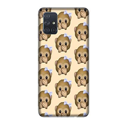 Funda Galaxy A71 Carcasa Compatible para Samsung Galaxy A71 Whatsapp Emoticon de Mono pequeño no Habla/Imprimir también en los Lados/Teléfono Duro A presión Antideslizante Antideslizante Antia