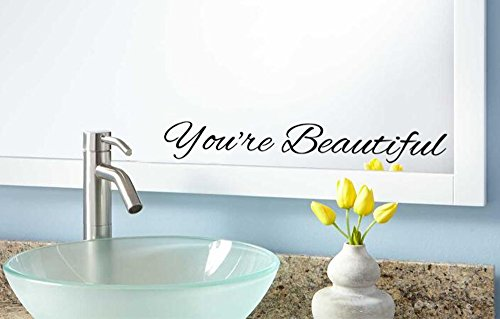 ViaVinyl You're Beautiful Vinyl Wall or Mirror Decal Quote for Motivation and -