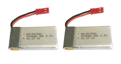 Outletdelocio Pack 2 Baterias Lipo 3,7v 600Mah 30C con Toma Bec para Drone Xplorer, JXD 510, X-Predators o similares