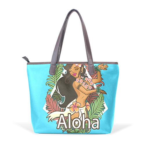 DEZIRO - Bolso de mano con diseño de hojas hawaianas, color, talla Large