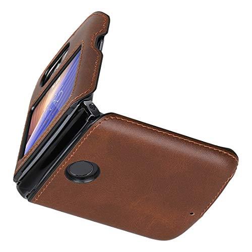 Cresee Kompatibel mit Motorola Razr 5G (2020) Hülle, PU Leder Back Cover + Hard PC Schutzhülle Thin Fit Handyhülle für Moto Razr 5G, Braun