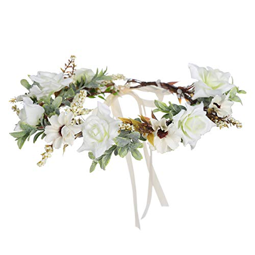 Leaf Flower Crown Garland Headpiece - Handmade Hair Garland Floral Wreath Adjusatble Flower Headbands for Bridal Wedding Festival Party Flower Leaves Crown (Cream white)
