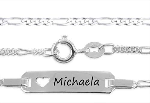 aplusashop ID Baby/Kinder-Armband 925 Silber mit Gravur nach Wunsch Taufe, Geburtstag Echtsilber mit Herz (15)