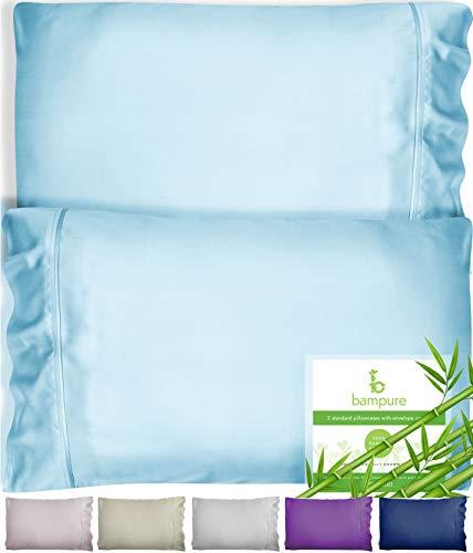 BAMPURE Bamboo Pillowcase Queen Bamboo Pillow Case Queen Size (20x30) - 100% Organic Bamboo Large Pillow Cases Cooling Pillowcase Cooling Pillow Cases Cool Pillow Cases Set Of 2 Pillowcases Light Blue