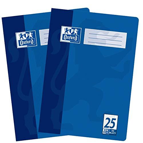 Oxford Schulhefte A4 Liniert mit Rand, Lineatur 25, 16 Blatt, hochwertiges 90 g/m² Papier, blau, 2er Pack