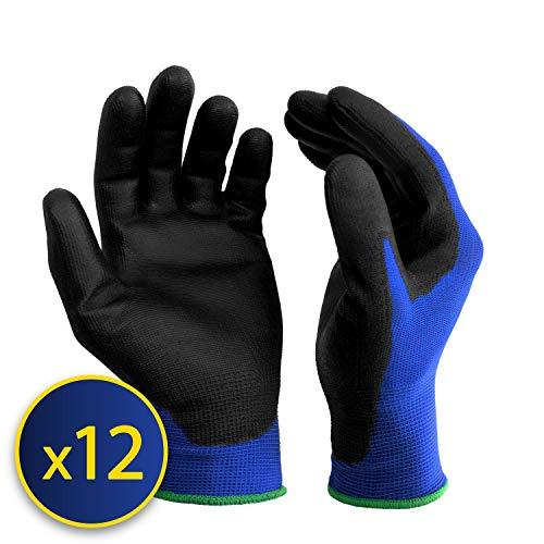 guanti lavoro antitaglio S&R-12 Paia Guanti da Lavoro protettivi in fibra di nylon con rivestimento in poliuretano