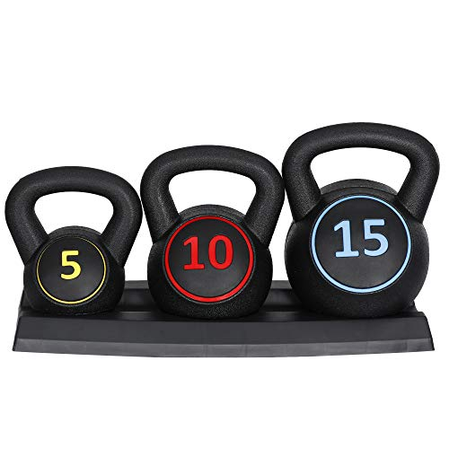 F2C 3-Piece Kettlebell Set with Storage Rack 5lb, 10lb, 15lb Weights HDPE Coated Concrete Kettlebells Core Training for Home Gym Exercise Fitness