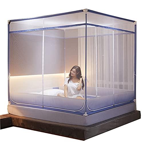 Soporte grueso de tres apertura Sentado tipo de cama Anti-Drop Formado en forma de Mosquitonera Top Top Cremallera Tipo de cremallera Aumento de la red de cifrado blue-1.8m