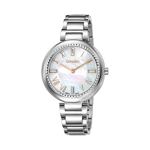 Smalto SNML20C2BM1 - Reloj para mujer, cuarzo, 35 mm, esfera blanca, correa de acero plateado