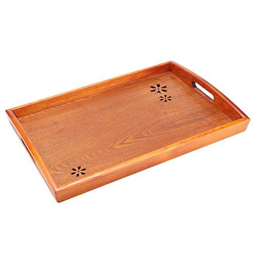 Bandeja de madera para servir, bandeja de té decorativa rectangular, bandeja de postre, bandeja grande para mesa de centro para hotel en casa