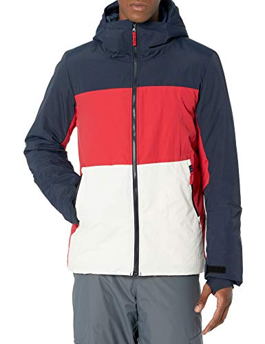 Amazon Essentials Men's Long-Sleeve Insulated Water-Resistant Hooded Snow Jacket, Red Colorblock, Medium