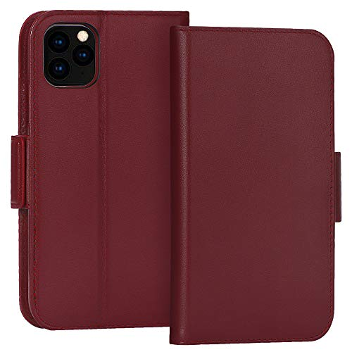 """FYY Case for iPhone 11 Pro Max 6.5"""", Luxury [Cowhide Genuine Leather][RFID Blocking] Wallet Case, Handmade Flip Folio Case with [Kickstand Function] and[Card Slots] for iPhone 11 Pro Max 6.5"""" Wine Red"""