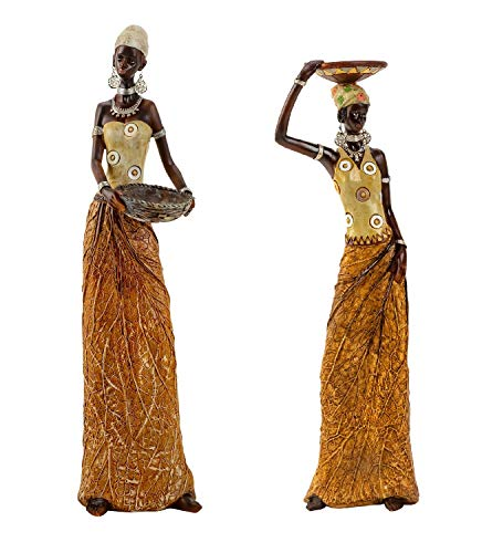 Deko Figuren XXL Skulpturen AFRIKANERIN 2 er Set Höhe 35 und 40cm Geschenk