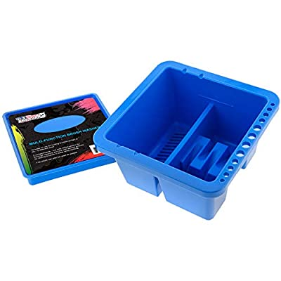 U.S. Art Supply 12 Hole Multi-Function Plastic Brush Washer, Cleaner and Holder with Palette Lid - Clean, Dry, Rest, Store, Hold Artist Paint Brushes - Cleaning Acrylic, Watercolor, Oil Painting
