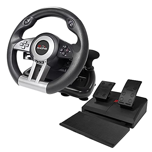 X Rocker XR Racing Steering Wheel Simulation with Floor Pedals, 180 Degree Driving Controller, Gear Shift and Vibration Feedback, for PS4   Xbox One   PC   Nintendo Switch Gaming