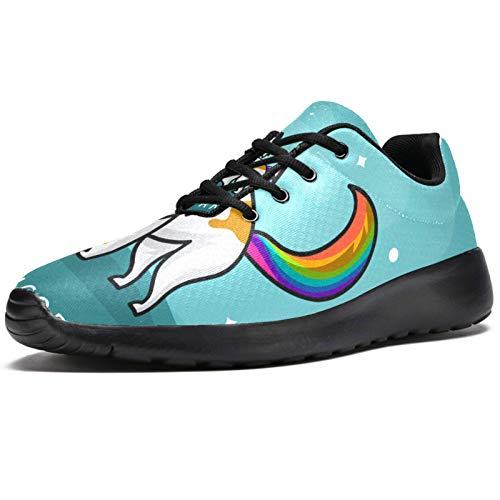 imobaby Sport Running Shoes for Women Flat Cute Cat Unicorn Wannabe Clipart Fashion Sneakers Mesh Breathable Walking Hiking Tennis Shoe