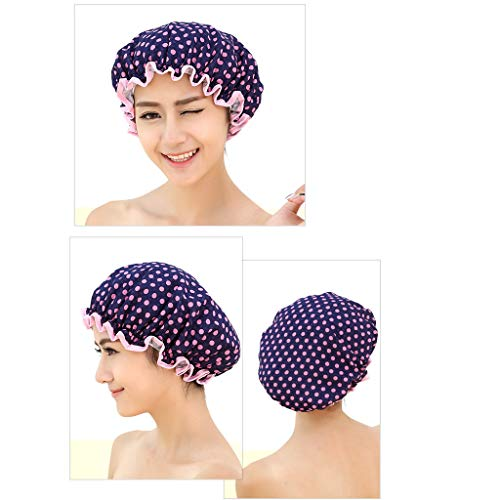 Bonnet de Douche imperméable Premium pour Femmes élastique Bonnet de Douche Lady Salon Spa Grand Bonnet de Bain Diam 10.63 in
