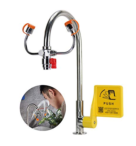 CGOLDENWALL Faucet Mounted Eye Wash Station Emergency Copper Eye Washer 90° Angle-Adjustable Sink Mount Safety Shower Eye Flush Shower for Lab and Industrial Use (with Faucet and Control Valve)