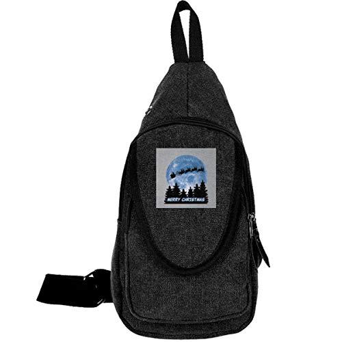 AHISHNF Santa Claus ET Moon Weihnachts-Silhouette Reise-Brusttasche für Herren und Damen, Mehrzweck-Tagesrucksack, Wandern, Schultertasche