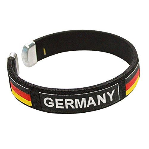 elasto Deutschland Armband Fanartikel Schwarz-Rot-Gold Fußball EM 2021 Armreif Damen, Herren,Unisex